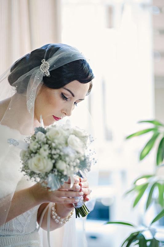 Makeup artist for a vintage inspired makeup look for a bride in Sydney