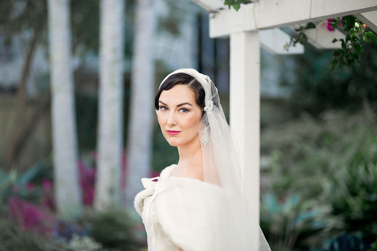 Bridal makeup and hair for a glamorous vintage inspired look