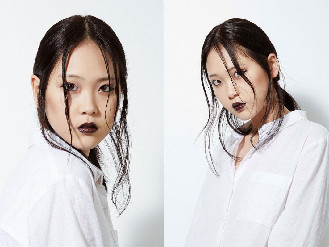 classic eyeliner makeup look and dark lips