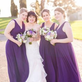 Bride and bridesmaids makeup and hair on wedding day